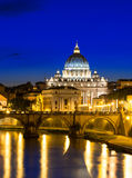 Night view of the St  Peter s Basilica in Rome, Vatican Royalty Free Stock Images