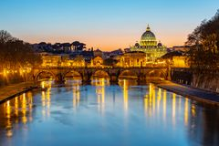 Night view of St. Peter`s Basilica in Vatican stock photo