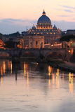 Night view at St. Peter's cathedral. In Rome, Italy Royalty Free Stock Photos