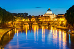 Night view at St. Peter's cathedral in Rome Royalty Free Stock Image