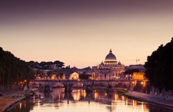 Night view at St. Peter's cathedral in Rome. Italy Royalty Free Stock Photography