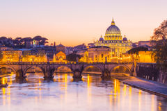 Night view at St. Peter's cathedral in Rome, Italy Stock Images