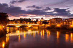 Night view at St. Peter's cathedral in Rome, Italy Stock Photos