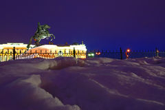 Night view of St. Petersburg. Monument Peter the Great on Senate Square in St. Petersburg royalty free stock photography