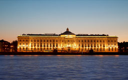Night view of St Petersburg. Building of Academy of Arts. Stock Photos