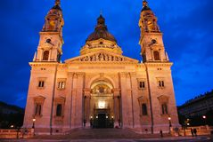 Night view of St Stephen Basilica Budapest Royalty Free Stock Photo