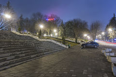 Night view of the stairs on the street Royalty Free Stock Photo