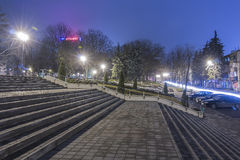 Night view of the stairs on the street Stock Image