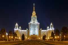 Moscow State University at night. Night view on the Stalin style skyscraper building of the Moscow State University royalty free stock images
