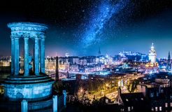 Night view with stars from Calton Hill to Edinburgh, Scotland royalty free stock photos