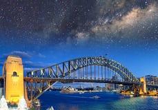 Night view with stars of Sydney Harbor Bridge from Luna Park Fer stock photo