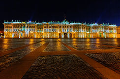 Night view of The State Hermitage Museum in Saint Petersburg Royalty Free Stock Photo