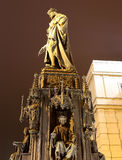 Night view of statue on the Charles Bridge in Prague, Czech Republic Stock Photography