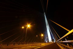 Night view of Stonecutters Bridge. Stonecutters Bridge is a high level cable-stayed bridge which spans the Rambler Channel in Hong Kong, connecting Nam Wan Kok Royalty Free Stock Photography