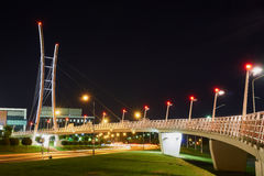 Night view of the street and the cable-stayed bridge Royalty Free Stock Image