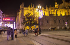 Night view of street  on Christmas, Seville, Spain Royalty Free Stock Image