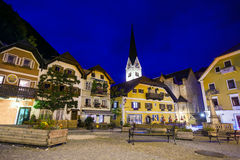 Night view of a street with Christuskirche church bell tower Royalty Free Stock Photography