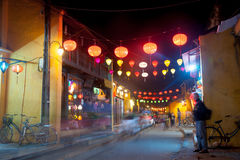 Night view of a street in Hoi An, Vietnam. Royalty Free Stock Photo