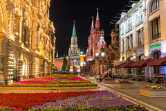 Night view of street and Kremlin in Moscow Royalty Free Stock Photo