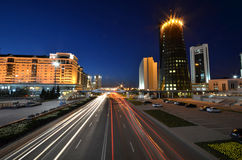 Night view of the street Orynbor Stock Photography
