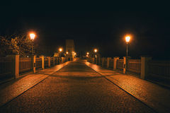 Night view of the street in Prague Royalty Free Stock Photos