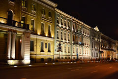 Night view of the street in St.Petersburg Stock Photo