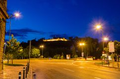 Night view on the streets of Brasov royalty free stock photos