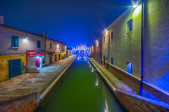 Night view of the streets and canals Stock Photos