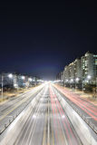 Night view of the stretch of the main road Stock Photography