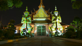 Night view style of Demon Guardian statues decorating. Stock Photo