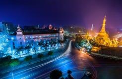 Night view of Sule pagoda. Yangon, Myanmar (Burma). Night view of Yangon cityscape with famous Buddhist shrine Sule pagoda. Myanmar (Burma&#x29 Stock Photos