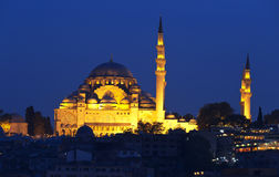 Night view at Suleymaniye Mosque Stock Images