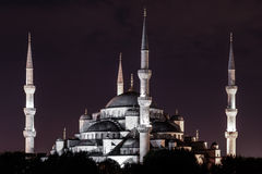 Night view of the Sultan Ahmed Mosque (aka Blue Mosque) in the old town of Istanbul (Turkey).  Royalty Free Stock Photo