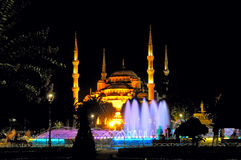 Night view of Sultan Ahmed Mosque and fountain Royalty Free Stock Image