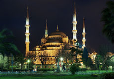 Night view of the Sultanahmet Mosque in Istanbul Royalty Free Stock Photography