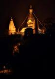 Night view of Swayambhunath Stupa. Kathmandu. Royalty Free Stock Images