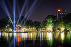 Night view of the Sword Lake and the Turtle Tower in Hanoi Royalty Free Stock Photo