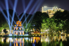 Night view of the Sword Lake and the Turtle Tower, Hanoi Royalty Free Stock Photos