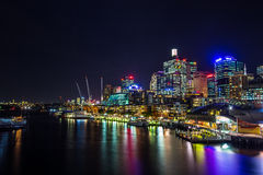Night view of Sydney CBD from Darling Harbour Stock Photos