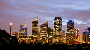 Night view of Sydney central business district. In Australia royalty free stock photography