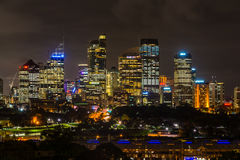 Night view of Sydney central business district Stock Image
