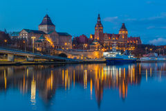 A night view of the Szczecin town,Poland, Royalty Free Stock Photography