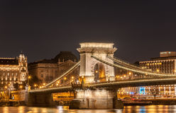 Night view of the Szechenyi Chain Bridge in the Bupapest, Hungary. BUDAPEST, HUNGARY - FEBRUARY 22, 2016: Night view of the Szechenyi Chain Bridge is a Royalty Free Stock Image
