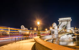 Night view of the Szechenyi Chain Bridge in the Bupapest, Hungary. Night view of the Szechenyi Chain Bridge is a suspension bridge that spans the River Danube Royalty Free Stock Photography