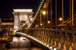 Night view of the Szechenyi Chain Bridge on the River Danube in Budapest. Night view of the Szechenyi Chain Bridge is a suspension bridge that spans the River Stock Image