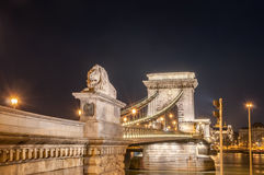 Night view of the Szechenyi Chain Bridge on the River Danube in Budapest Royalty Free Stock Image