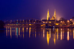 Night view of Szeged city in Hungary Royalty Free Stock Image