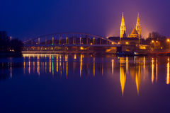 Night view of Szeged city in Hungary Stock Photo