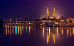 Night view of Szeged city in Hungary Royalty Free Stock Photos
