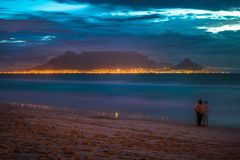 Night view of Table Mountain and Cape Town, South Africa royalty free stock photography